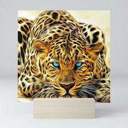 A blue eyes African tiger Mini Art Print