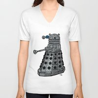 dalek V-neck T-shirts featuring Dalek by Rebecca Bear