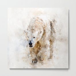 Abstract watercolor polar bear Metal Print