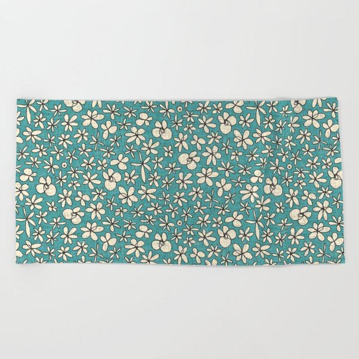 garland flowers blue Beach Towel