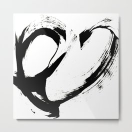 Brushstroke 6: a minimal, abstract, black and white piece Metal Print