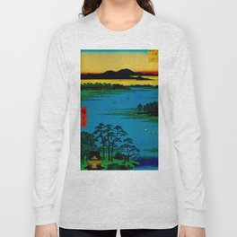 Hiroshige, Sunset Contemplative Landscape Long Sleeve T-shirt