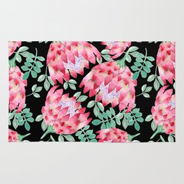 Watercolor Protea Rug