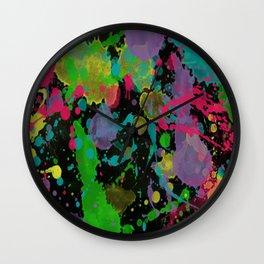 Paint Splatter on Black Background Wall Clock