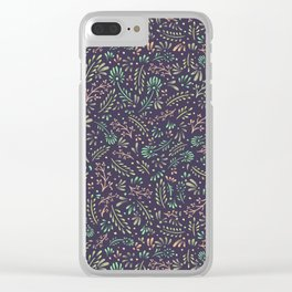 Pastel Flower Ditsy Pattern Clear iPhone Case