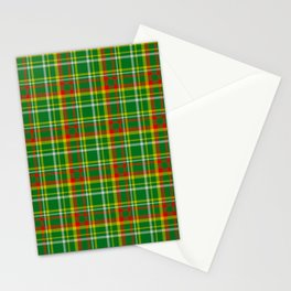Green Red Yellow and White Plaid Stationery Cards