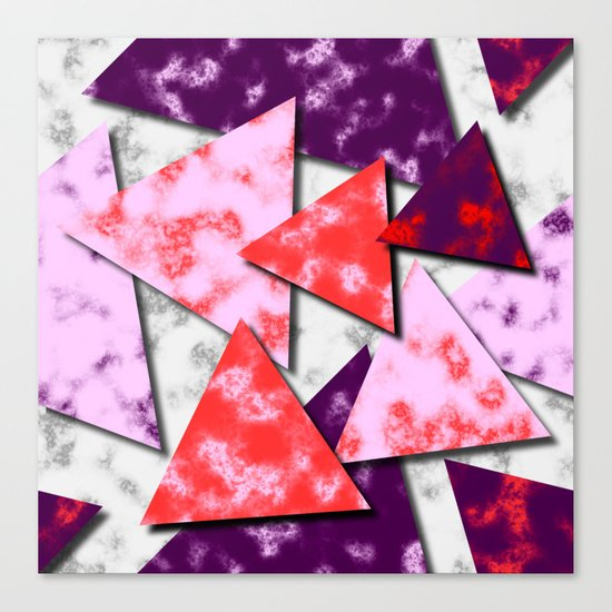 Triangles Layered Pattern in Red Purple and Pink Canvas Print