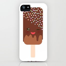 set ice cream, ice lolly Kawaii with pink cheeks and winking eyes, pastel colors iPhone Case