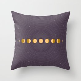 Moon Phases and Orbits on Purple Background Throw Pillow