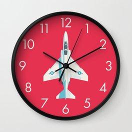 F4 Phantom Jet Fighter Aircraft - Crimson Wall Clock