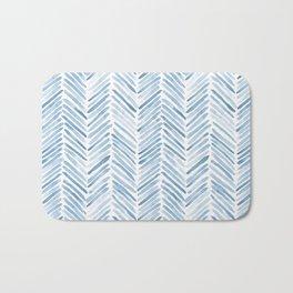 Baby blue watercolor herringbone  Bath Mat