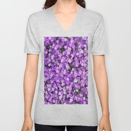 Pretty Purple Flowers, Purple Ground Cover, Beautiful Flowers Unisex V-Neck