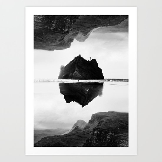 Black and White Isolation Island Art Print