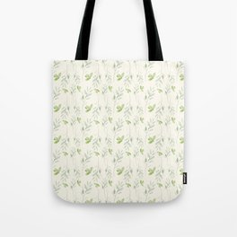 Hand painted watercolor pastel green ivory leaves floral Tote Bag