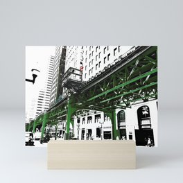 Chicago photography - Chicago EL art print in green black and white Mini Art Print