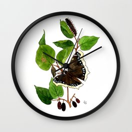 Mourning Cloak Butterfly Wall Clock