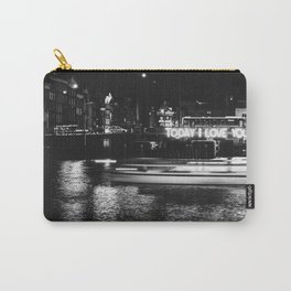 Photo of an artwork called Today I Love you in Winter Wonderland over the Dutch Canals of Amsterdam, the Netherlands I | Fine Art Black and White Photography |  Carry-All Pouch