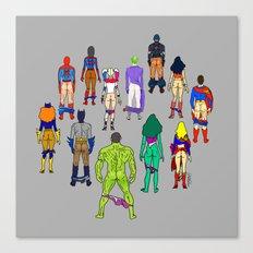 Superhero Power Couple Butts - Grey Canvas Print