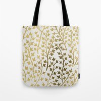micklyn Tote Bags featuring Gold Ivy by Cat Coquillette