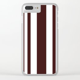 Mixed Vertical Stripes - White and Dark Sienna Brown Clear iPhone Case