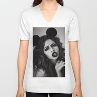 minnie V-neck T-shirts featuring Minnie Mouse  by Lídia Vives