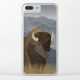 Bison Gray Mountains Clear iPhone Case