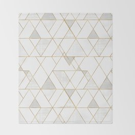Mod Triangles Gold and white Throw Blanket