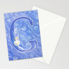 Watercolor Floral Monogram Letter G Stationery Cards