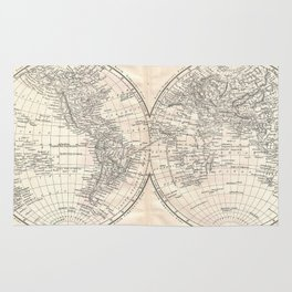 Vintage Map of The World (1860) 2 Rug