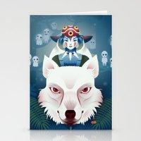 princess mononoke Stationery Cards featuring Princess Mononoke by Roberta Oriano