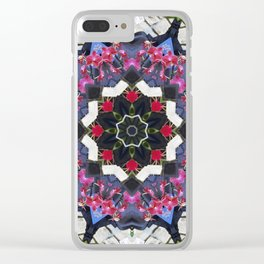 Orchids And Stone Wall Kaleidoscope 1763 Clear iPhone Case