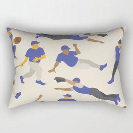 Pattern of Baseball Players in Blue Rectangular Pillow