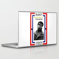 biggie smalls Laptop & iPad Skins featuring Biggie Smalls for Mayor by tracygrahamcracker