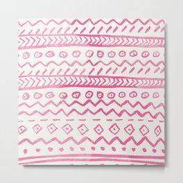 Modern pink watercolor hand made aztec pattern Metal Print