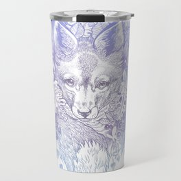 Pastel Purple Hiding Fox Drawing Travel Mug