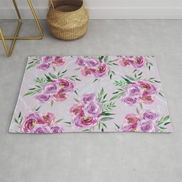 Purple mauve watercolor peonies falling bouquets Rug