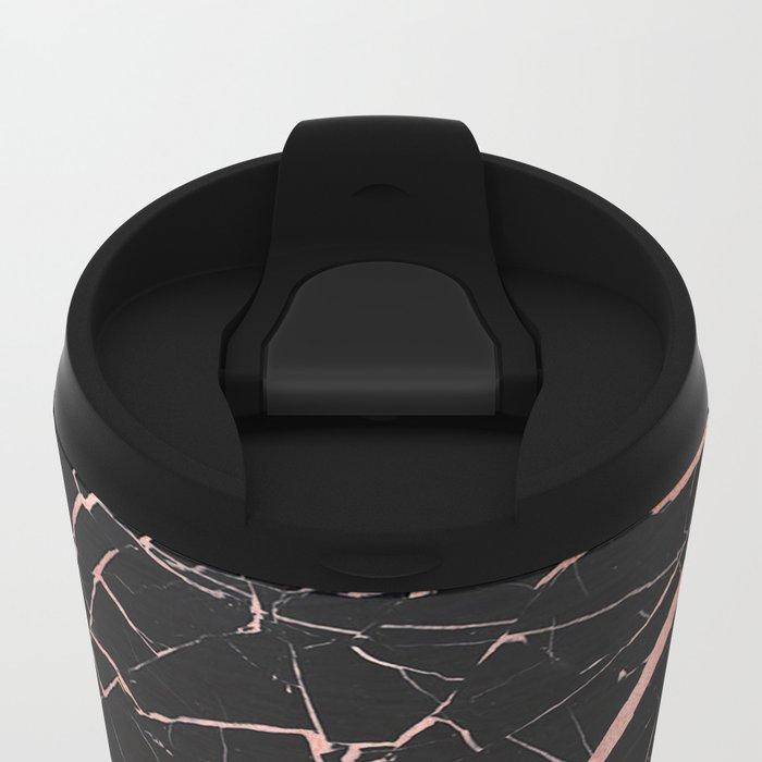 Dark stormy rose gold marble Metal Travel Mug