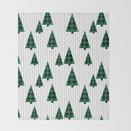 Christmas Tree forest minimal scandi dots plaid patterned holiday winter Throw Blanket