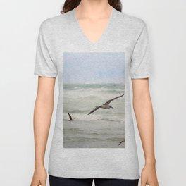 Seagulls flying over rough sea Unisex V-Neck