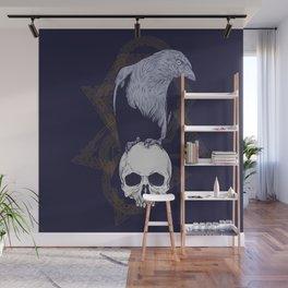 Dark Vintage Styled Macabre Crow and Skull Ponder Life Wall Mural