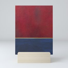 Deep Blue, Red And Gold Abstract Painting Mini Art Print