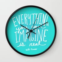 picasso Wall Clocks featuring Picasso: Imagine by Leah Flores