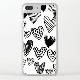 Hearts black and white hand drawn minimal love valentines day pattern gifts decor Clear iPhone Case