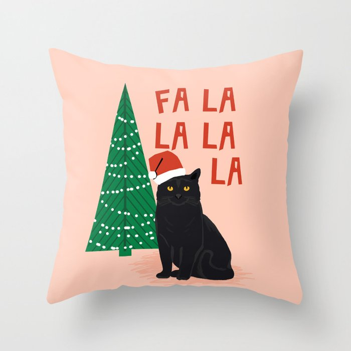 Black Cat cute fa la la christmas xmas tree holiday funny cat art cat lady gift unique pet gifts Throw Pillow
