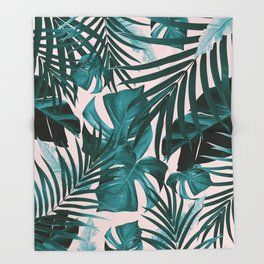 Tropical Jungle Leaves Pattern #3 #tropical #decor #art #society6 Throw Blanket