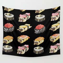Sushi Pug Watercolor Wall Tapestry
