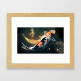 Japanese Koi carp and tiny momiji Framed Art Print