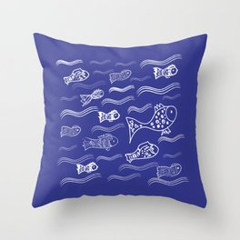 Fishes in the water pattern, fishes design, navy blue design, Throw Pillow