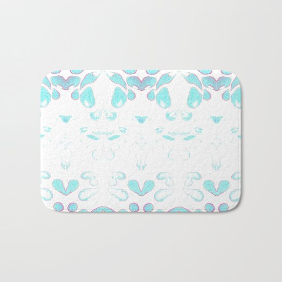 Summer Vibes, Blue and Purple Neon Leaves Bath Mat