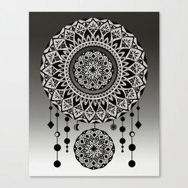 Mandala Dream Catcher (Black & White) Canvas Print